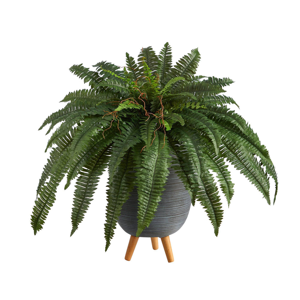 2.5' Boston Fern Artificial Plant in Gray Planter with Stand