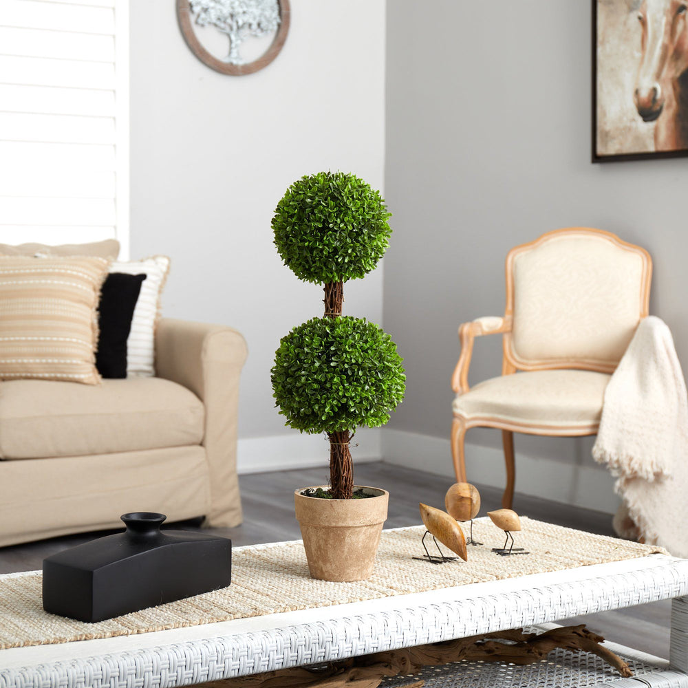 2.5' Boxwood Double Ball Topiary Artificial Tree (Indoor/Outdoor)