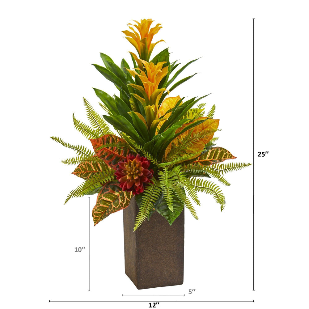 "25"" Bromeliad, Croton and Succulent Artificial Plant in Weathered Brown Planter"