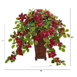 "25"" Poinsettia and Variegated Holly Artificial Plant in Planter (Real Touch)"