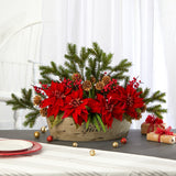 "25"" Poinsettia, Succulent and Pine Artificial Arrangement in Decorative Vase"