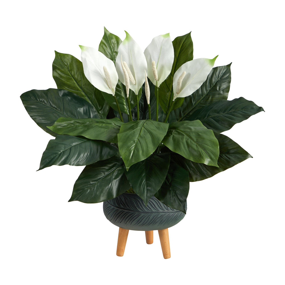 2.5' Spathiphyllum Artificial Plant in Black Planter with Stand
