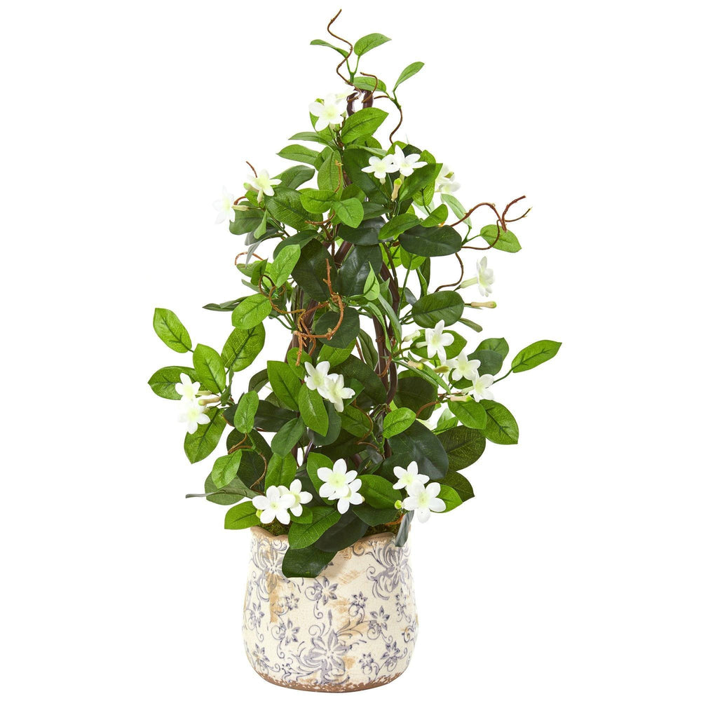 25 Stephanotis Artificial Climbing Plant In Decorative Planter Nearly Natural