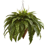 "26"" Artificial Giant Boston Fern with Cone Hanging Basket"