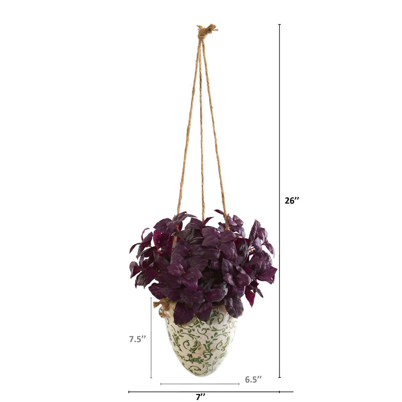 "26"" Basil Artificial Plant in Hanging Vase"