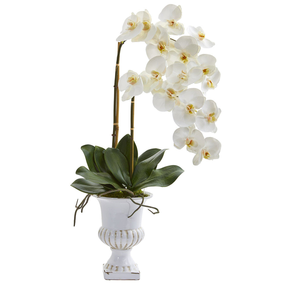 "26"" Double Phalaenopsis Orchid Artificial Arrangement in White Urn"