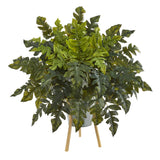 "26"" Holly Fern Artificial Plant in Green Planter with Stand"