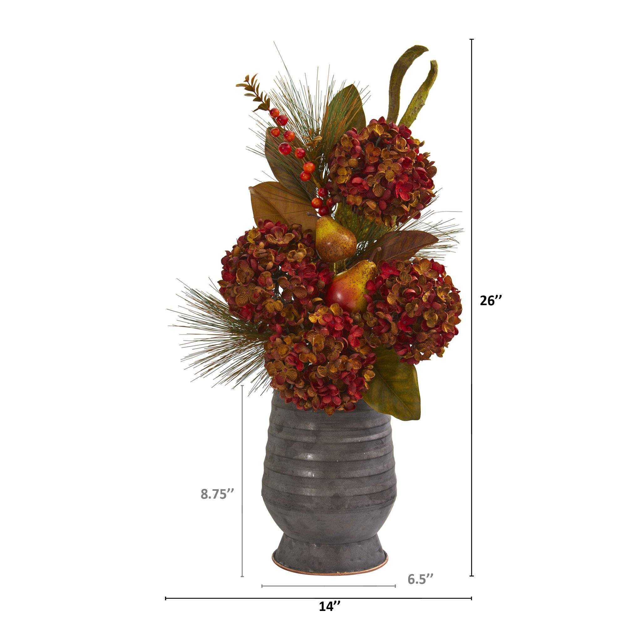 26 Hydrangea Pear And Magnolia Artificial Arrangement In Metal Vase Nearly Natural