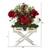 "26"" Hydrangea, Phalaenopsis Orchid and Holly Berry Artificial Arrangement in Drawer Planter"