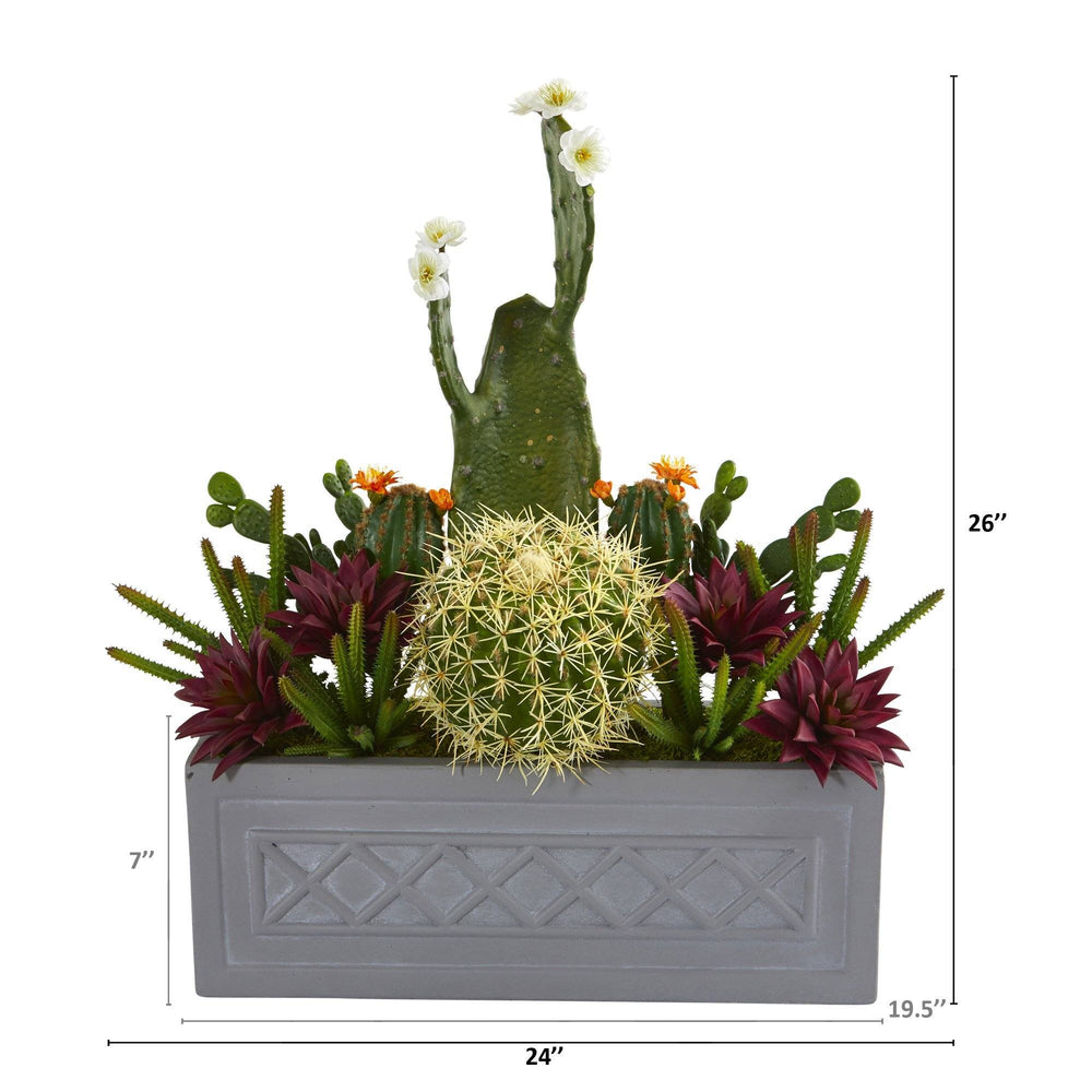 "26"" Mixed Cactus Succulent Artificial Plant in Stone Planter"