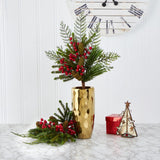 "26"" Mixed Pine, Pinecone and Berry Artificial Plant (Set of 3)"