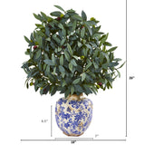 "26"" Olive with Berries Artificial Plant in Decorative Vase"