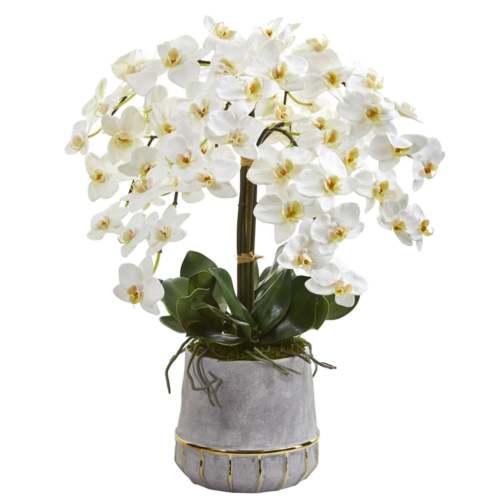 "26"" Phalaenopsis Orchid Artificial Arrangement in Stoneware Vase with Gold Trimming"