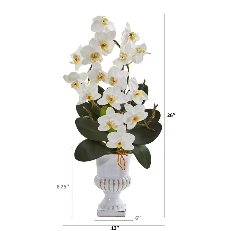 "26"" Phalaenopsis Orchid Artificial Arrangement in White Urn"