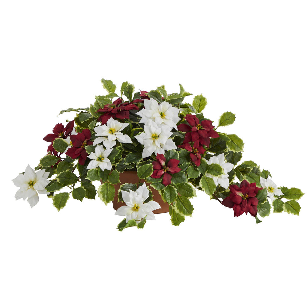 "26"" Poinsettia and Variegated Holly Artificial Plant in Terra-Cotta Planter (Real Touch)"