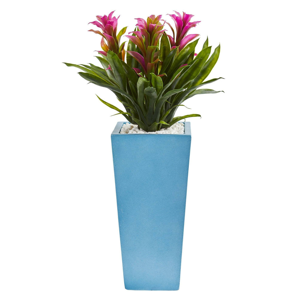 26 Triple Bromeliad Artificial Plant In Turquoise Tower Vase 6469 Nearly Natural