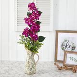 "27"" Bougainvillea and Eucalyptus Artificial Arrangement in Floral Pitcher"