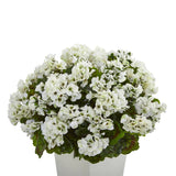 "27"" Geranium Artificial Plant in White Planter UV Resistant (Indoor/Outdoor)"