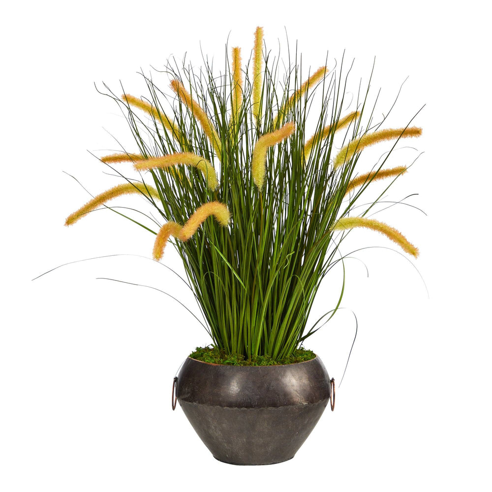 "27"" Onion Grass Artificial Plant in Metal Bowl"