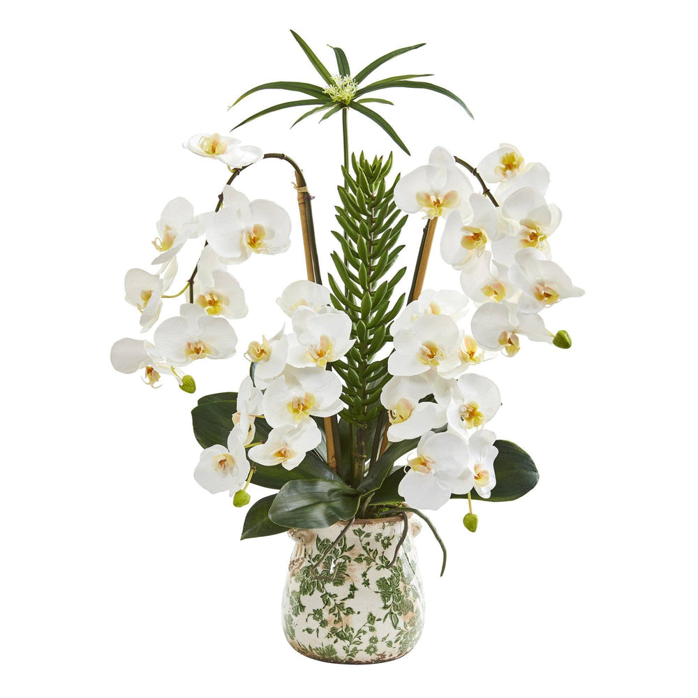 "27"" Phalaenopsis Orchid and Succulent Artificial Arrangement in Floral Vase"