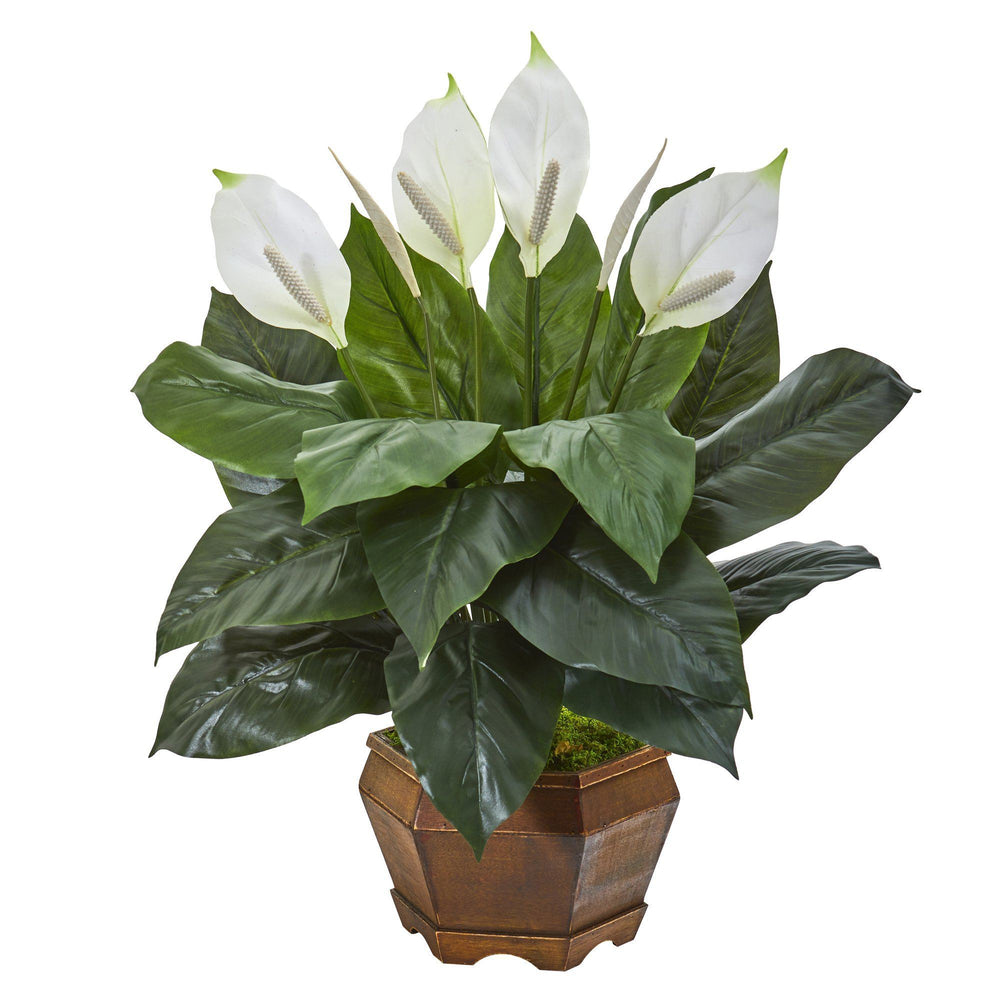27 Spathifyllum Artificial Plant In Decorative Planter Nearly Natural