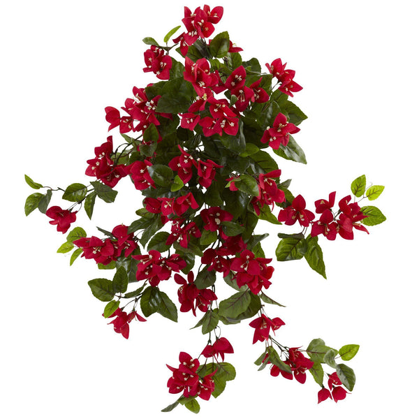 28 Bougainvillea Hanging Bush Artificial Plant Set Of 2 Uv Resistant Indoor Outdoor 6132 S2 Nearly Natural