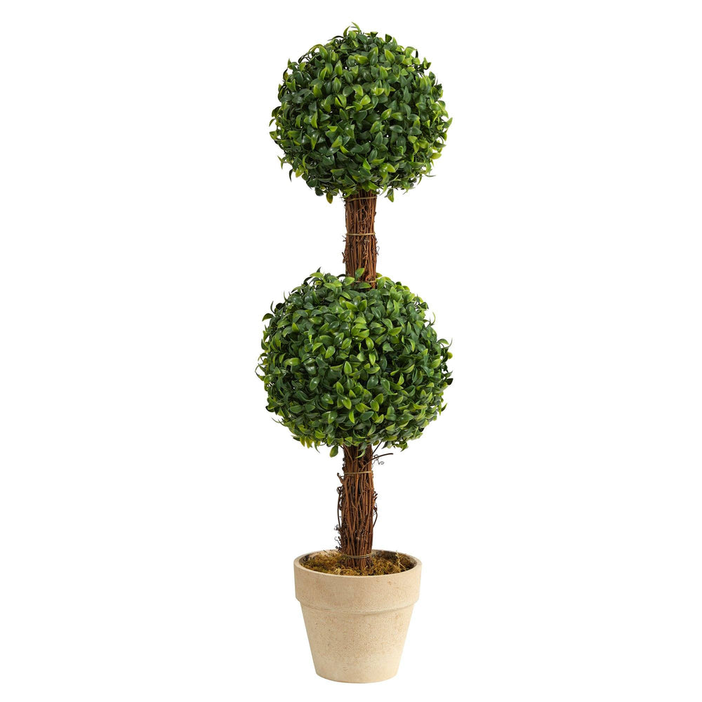 "28"" Boxwood Double Ball Topiary Artificial Tree (Indoor/Outdoor)"