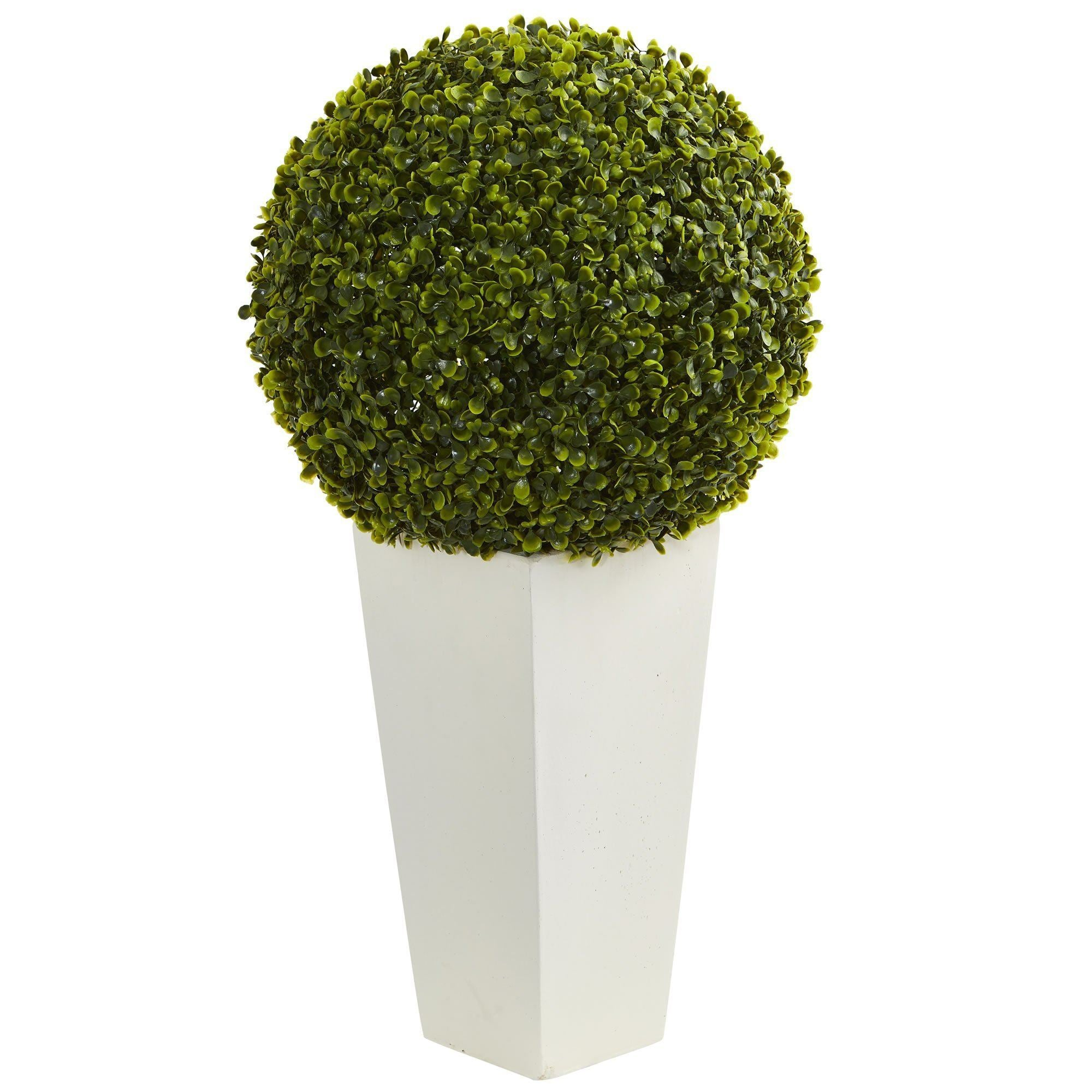 28 Boxwood Topiary Ball Artificial Plant In White Tower Planter Indoor Outdoor Nearly Natural
