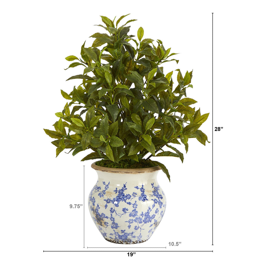 "28"" Coffee Leaf Artificial Plant in Vintage Floral Planter (Real Touch)"