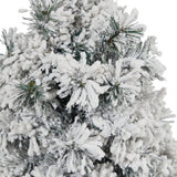 "28"" Flocked Artificial Christmas Tree with 30 Clear LED Lights in White Urn"