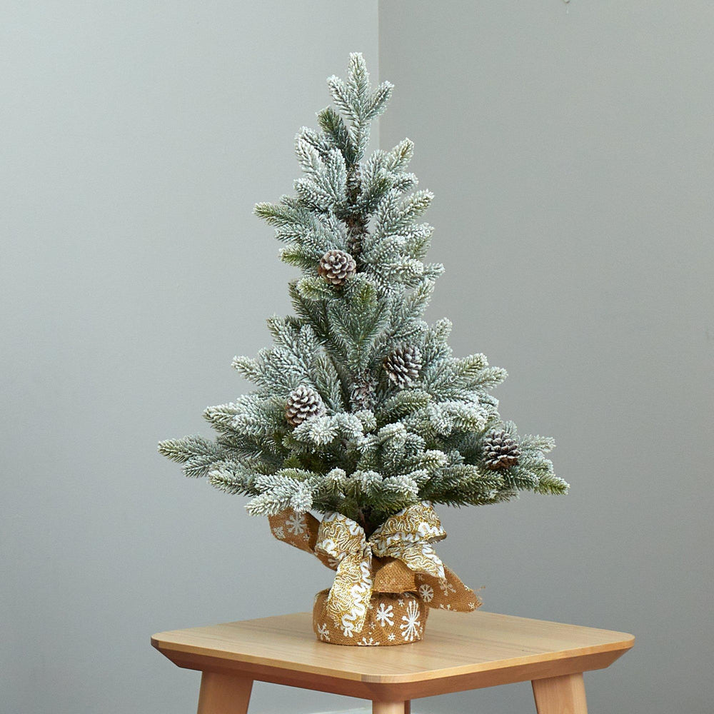 "28"" Flocked Artificial Christmas Tree with Pine Cones"