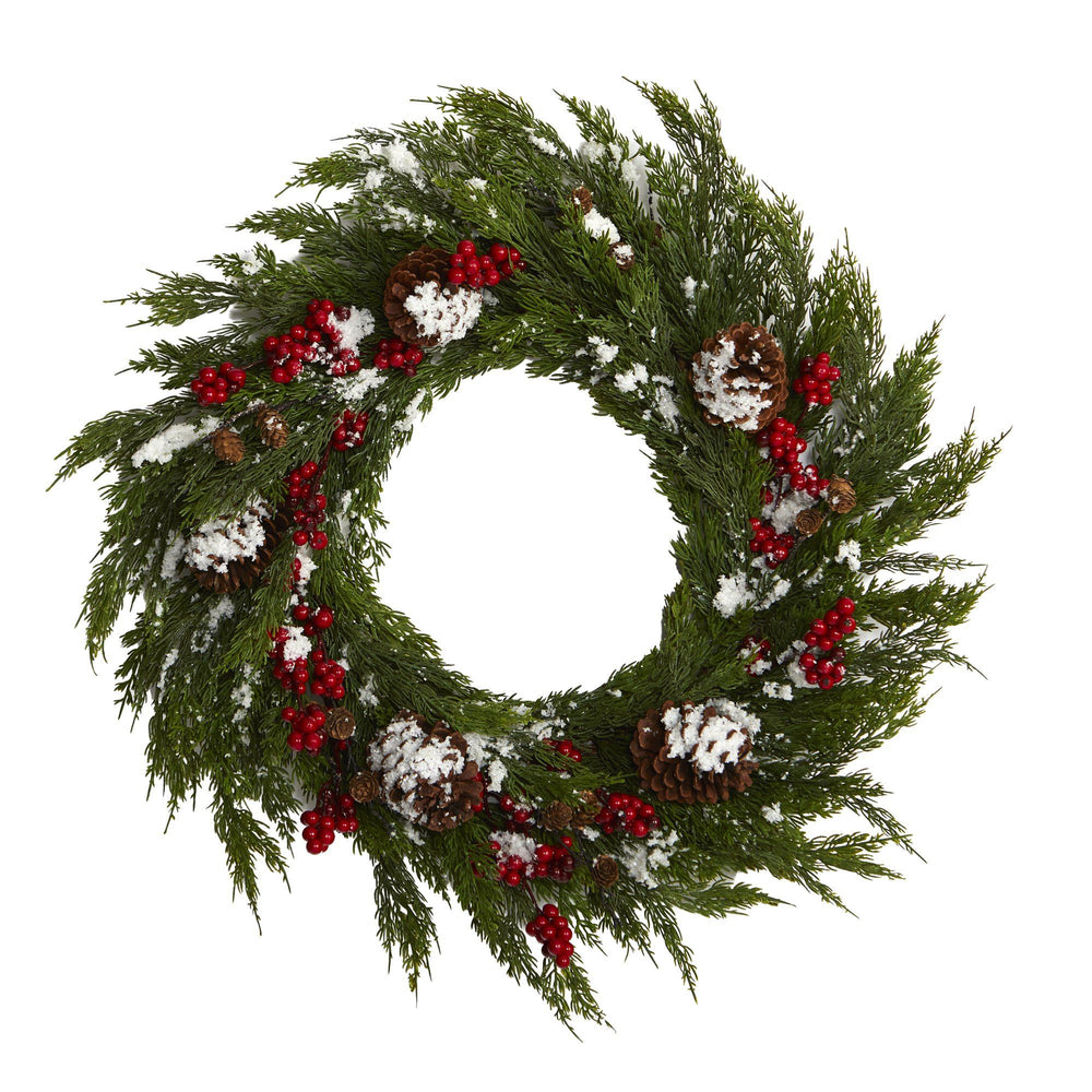 28'' Frosted Cypress with Berries and Pine Cones Artificial Wreath