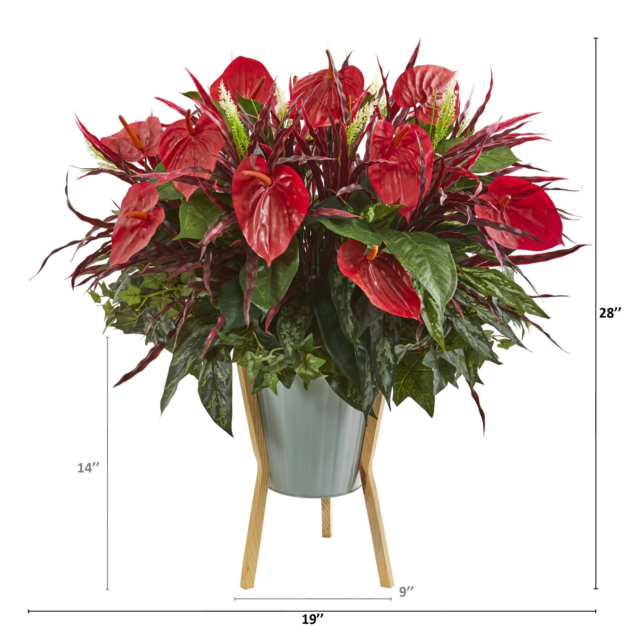 28 Mixed Anthurium Artificial Plant In Green Planter With Stand Nearly Natural