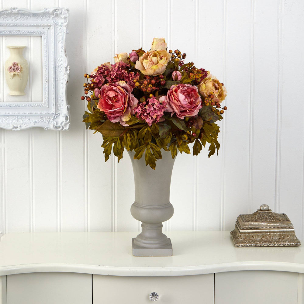 "28"" Peony Artificial Arrangement in Sand Colored Urn"