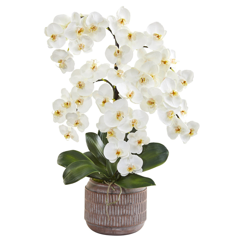 "28"" Phalaenopsis Orchid Artificial Arrangement in Stoneware Vase"