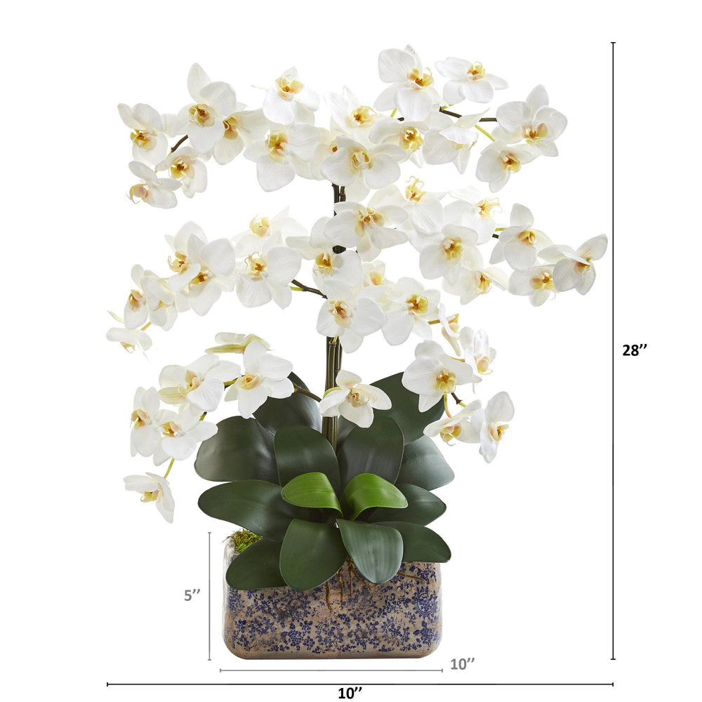 "28"" Phalaenopsis Orchid Artificial Arrangement in Vintage Vase"