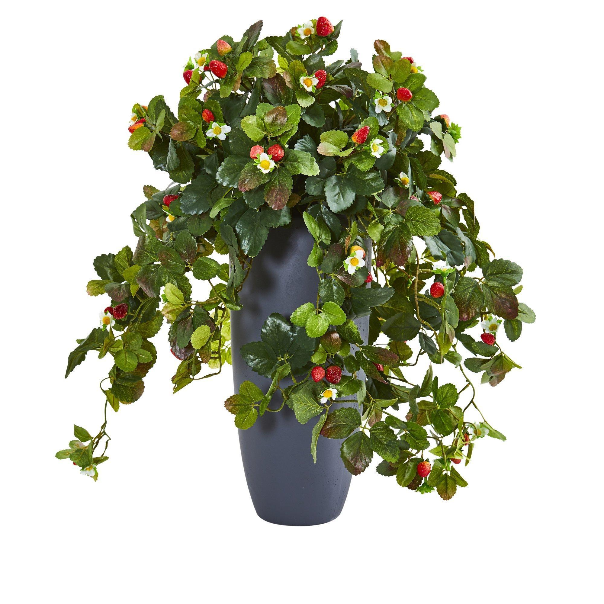 28 Strawberry Artificial Plant In Gray Planter Nearly Natural
