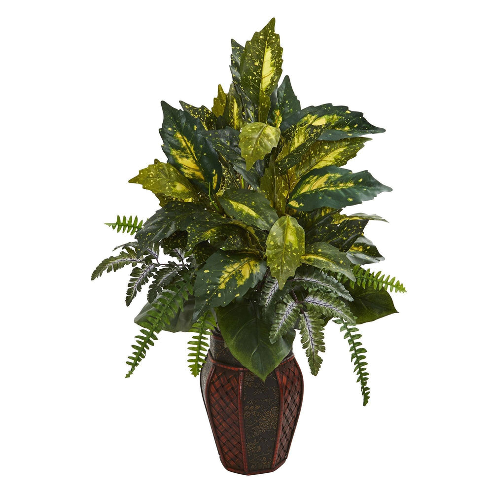 "29"" Artificial Mixed Philo and Fern Plant in Decorative Planter"