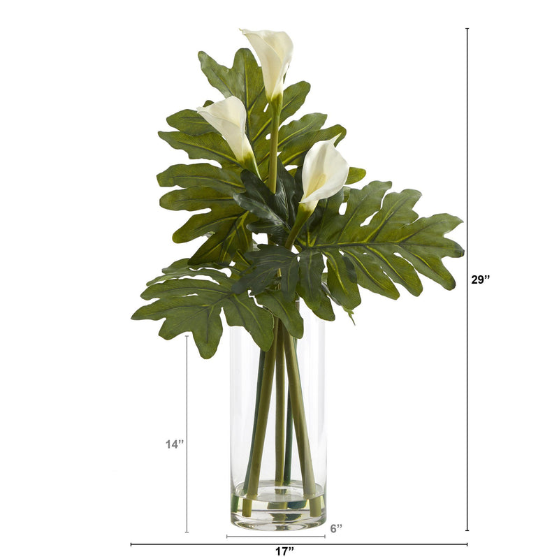 "29"" Calla Lily and Philo Artificial Arrangement in Glass Vase"