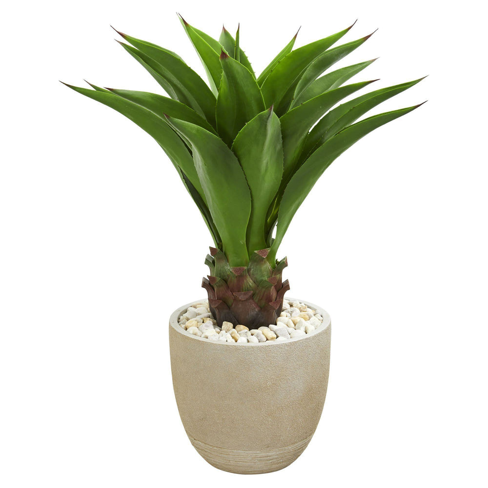3' Agave Artificial Plant in Sandstone Planter