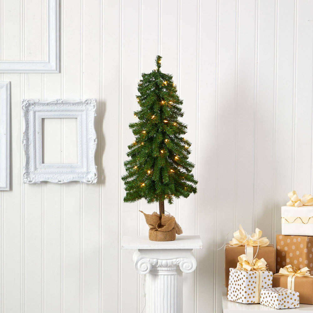 3' Alpine Artificial Christmas Tree with 50 Lights, 177 Bendable Branches and a Burlap Planter