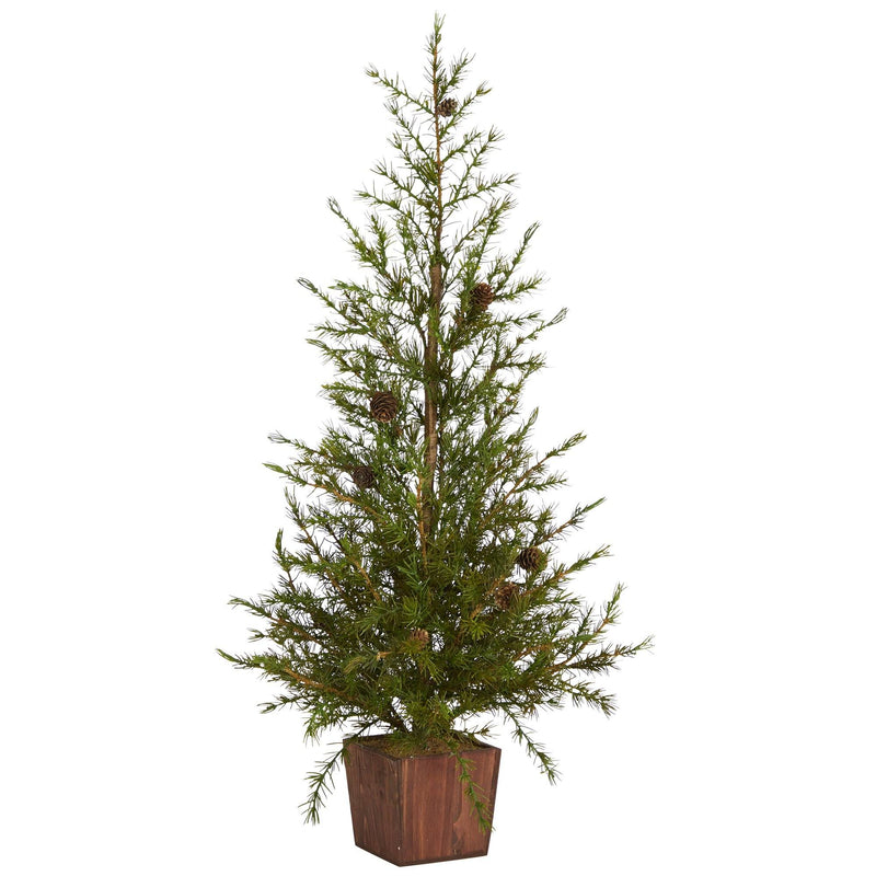 "3' Alpine ""Natural Look"" Artificial Christmas Tree in Wood Planter with Pine Cones"
