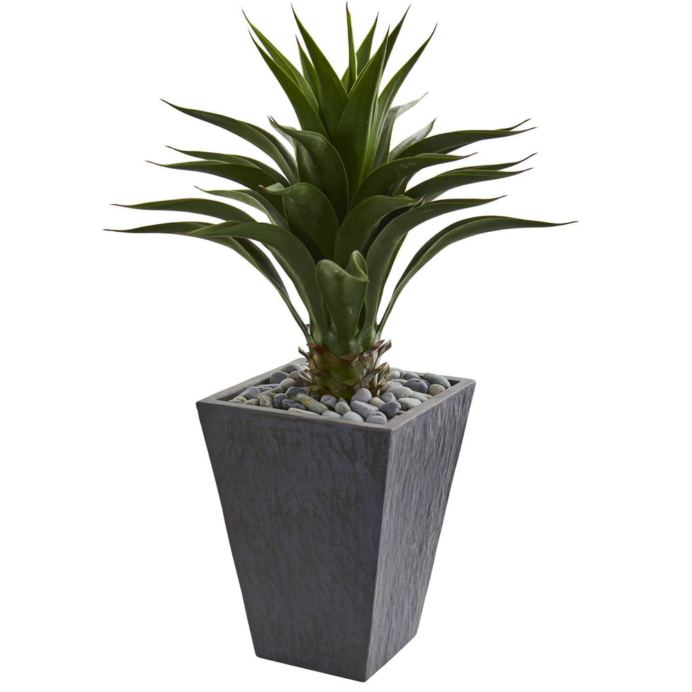 3' Artificial Agave Plant in Slate Finished Steel Grey Planter