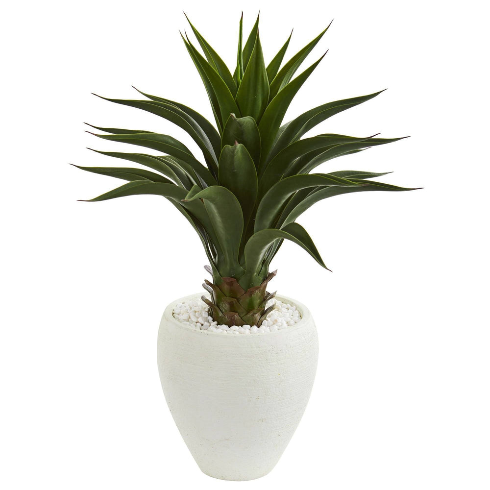 3' Artificial Smooth Agave Plant in White Planter