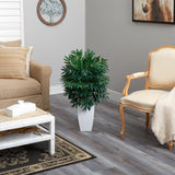 3' Bamboo Palm Artificial Plant in White Metal Planter