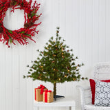 3' Colorado Mountain Pine Artificial Christmas Tree with 50 Lights. 171 Branches and Pine Cones