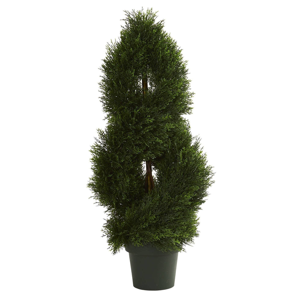 3' Double Pond Cypress Spiral Artificial Topiary Tree UV Resistant (Indoor/Outdoor)