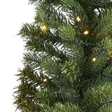 3' Flat Back Wall Hanging Artificial Christmas Tree with 35 Clear LED Lights