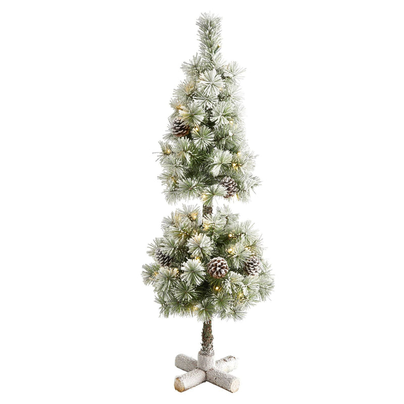 3' Flocked Artificial Christmas Tree Topiary with 50 Warm White LED Lights and Pine Cones