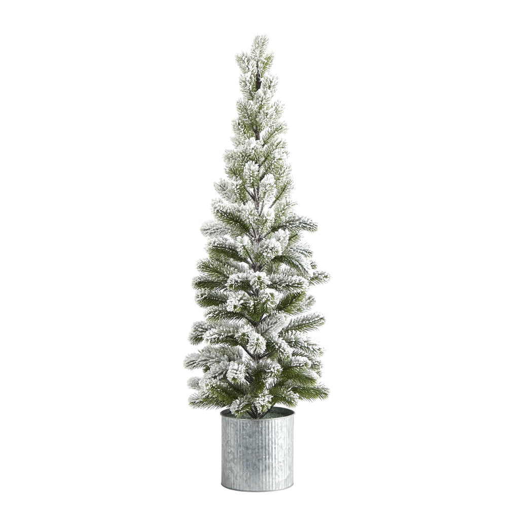 3' Flocked Christmas Artificial Pine Tree in Tin Planter